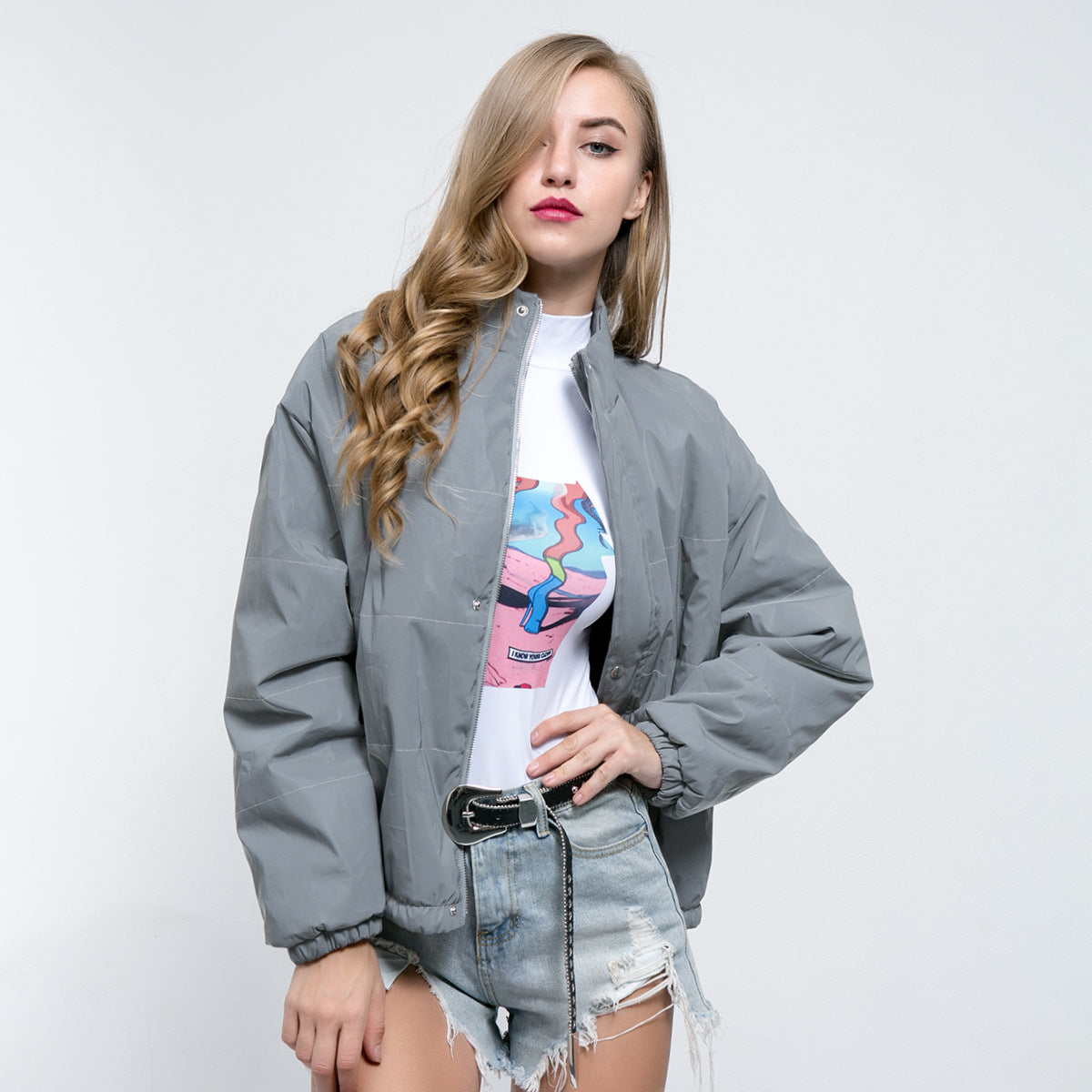 Sexy Grey Crew Neckline Long Sleeves Front Zip Up Closure Puffy Coat