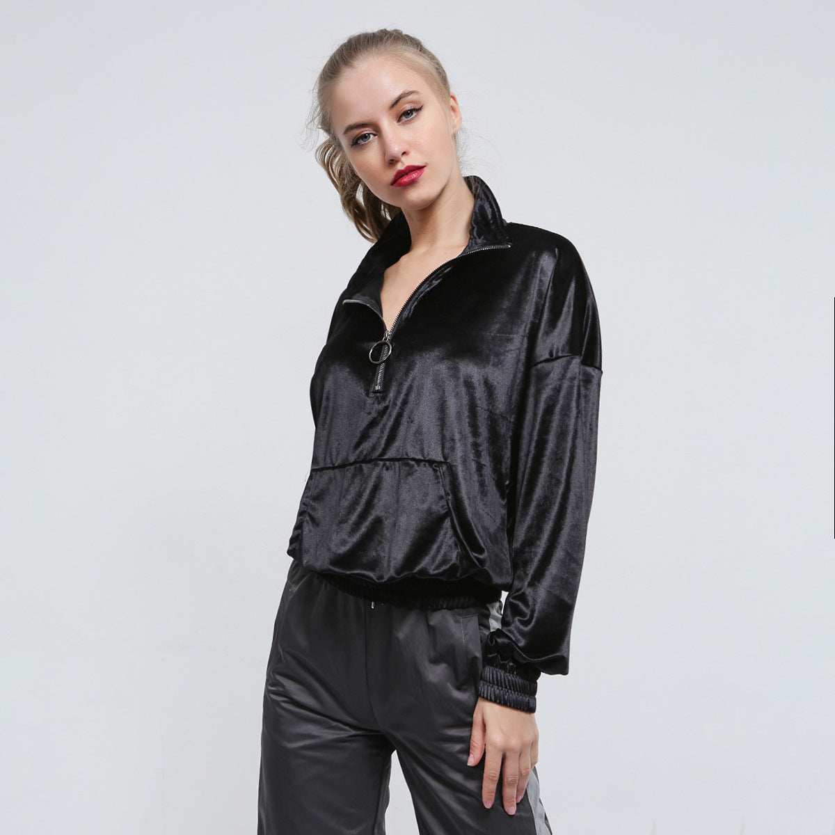 Sexy Black Front Zip Up Closure Side Pockets Long Sleeves Jacket