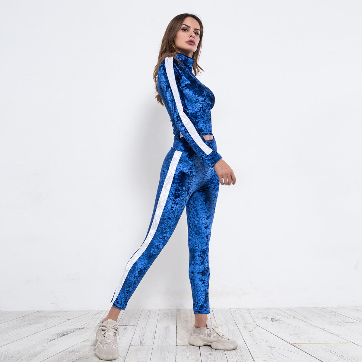 Sexy Blue Two Tone Long Sleeves Hoodie Gym Wear Work Out Sportswear Set