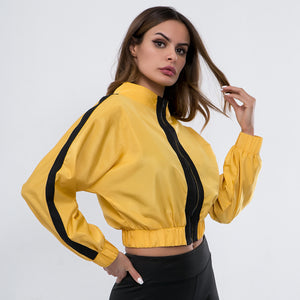 Sexy Yellow Stand Collar Long Sleeves Front Zip Up Closure Jacket