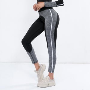 Sexy Two Tone Long Sleeves Gym Work Out Sportswears Set