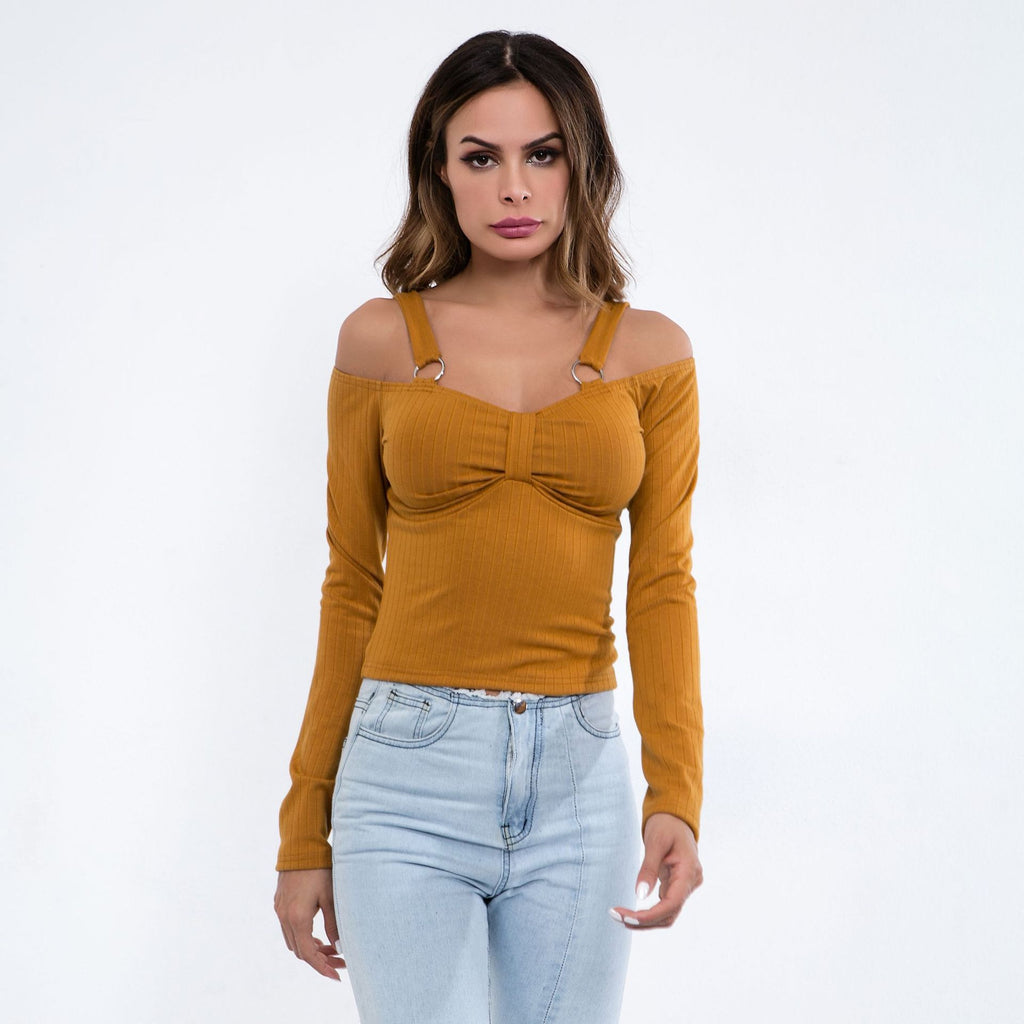 Sexy Yellow V Neckline Cold Shoulder Long Sleeves Sweatshirt