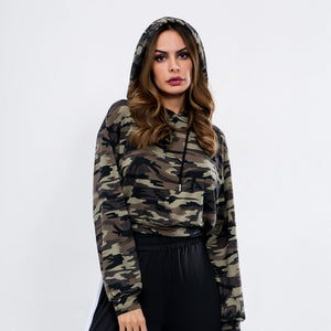 Sexy Camouflage Long Sleeves Gym Wear Work Out Sportswear Hoodie