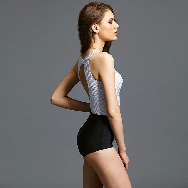 Sexy Round Neckline Cut Out Detailing Two Tone One Piece