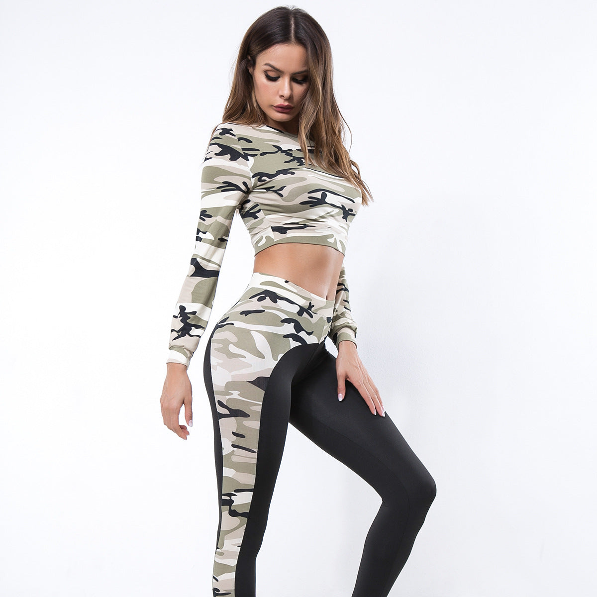 Sexy Camouflage Two Tone Gym Wort Out Sportswear Set