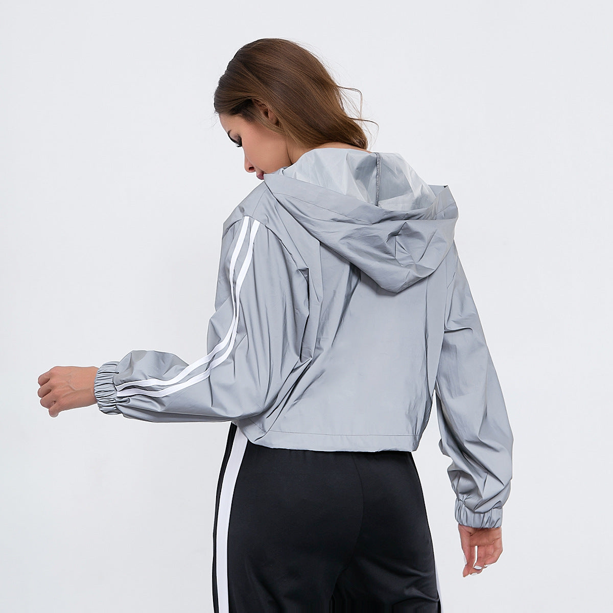 Sexy Grey Stand Collar Long Sleeves Gym Wear Work Out Hoodie
