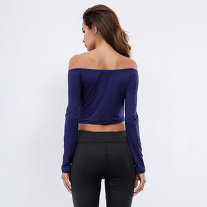 Sexy Off Shoulder Long Sleeves Gym Work Out Top