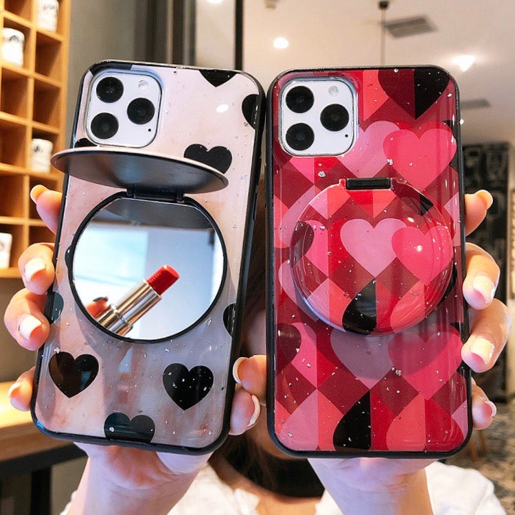 Cute Two Tone Mirror Decorated iPhone Case
