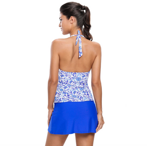 Sexy Two Tone Deep V Neckline Open Back Tankini