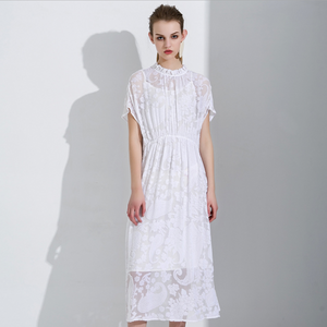 Sexy White Crew Neckline Short Sleeves Lace Up Detailing Dress
