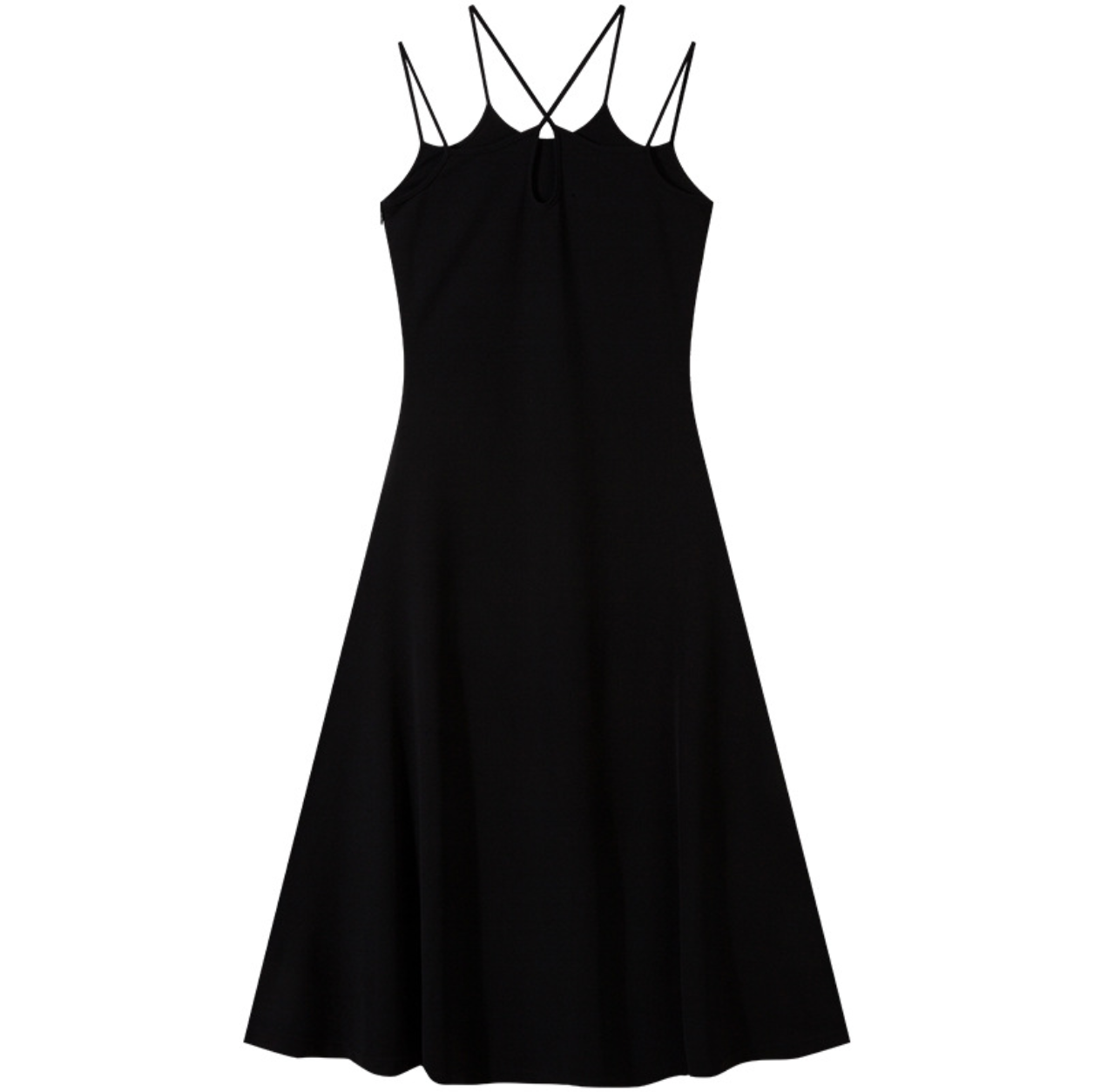 Sexy Black V Neckline Sleeveless Strappy Detailing Midi Dress