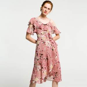 Sexy Floral Prints Short Sleeves Cold Shoulder Dress