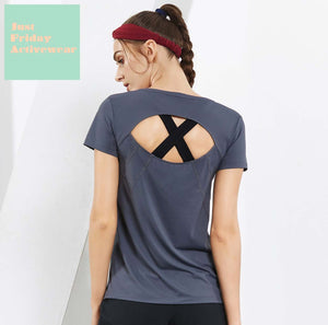 Sexy Cut Out Short Sleeves Gym Wear Work Out Sports Tee