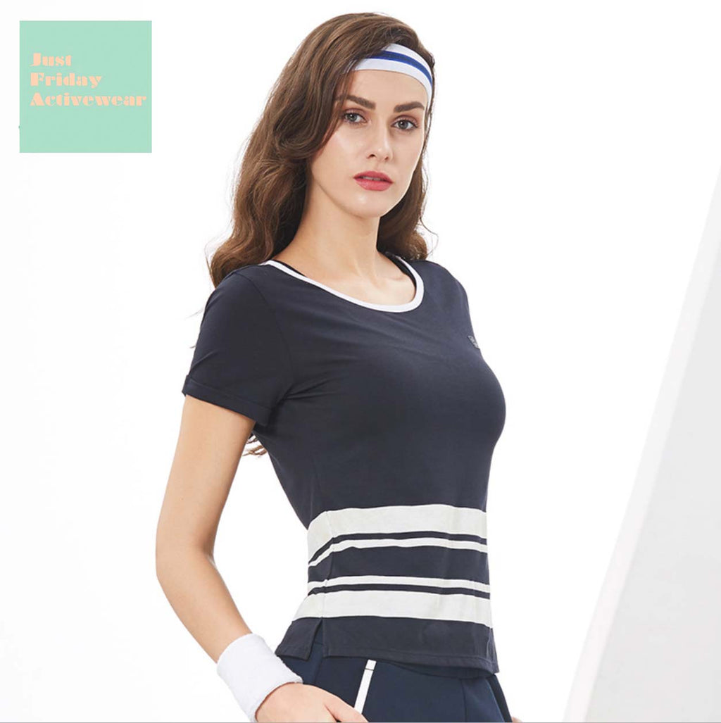 Sexy Two Tone Detailing Short Sleeves Gym Wear Work Out Sports Tee