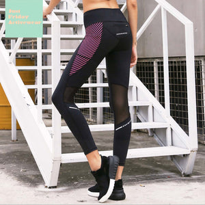 Sexy Side Pocket Two Tone Mesh Detailing Gym Wear Work Out Sports Legging Yoga Pants