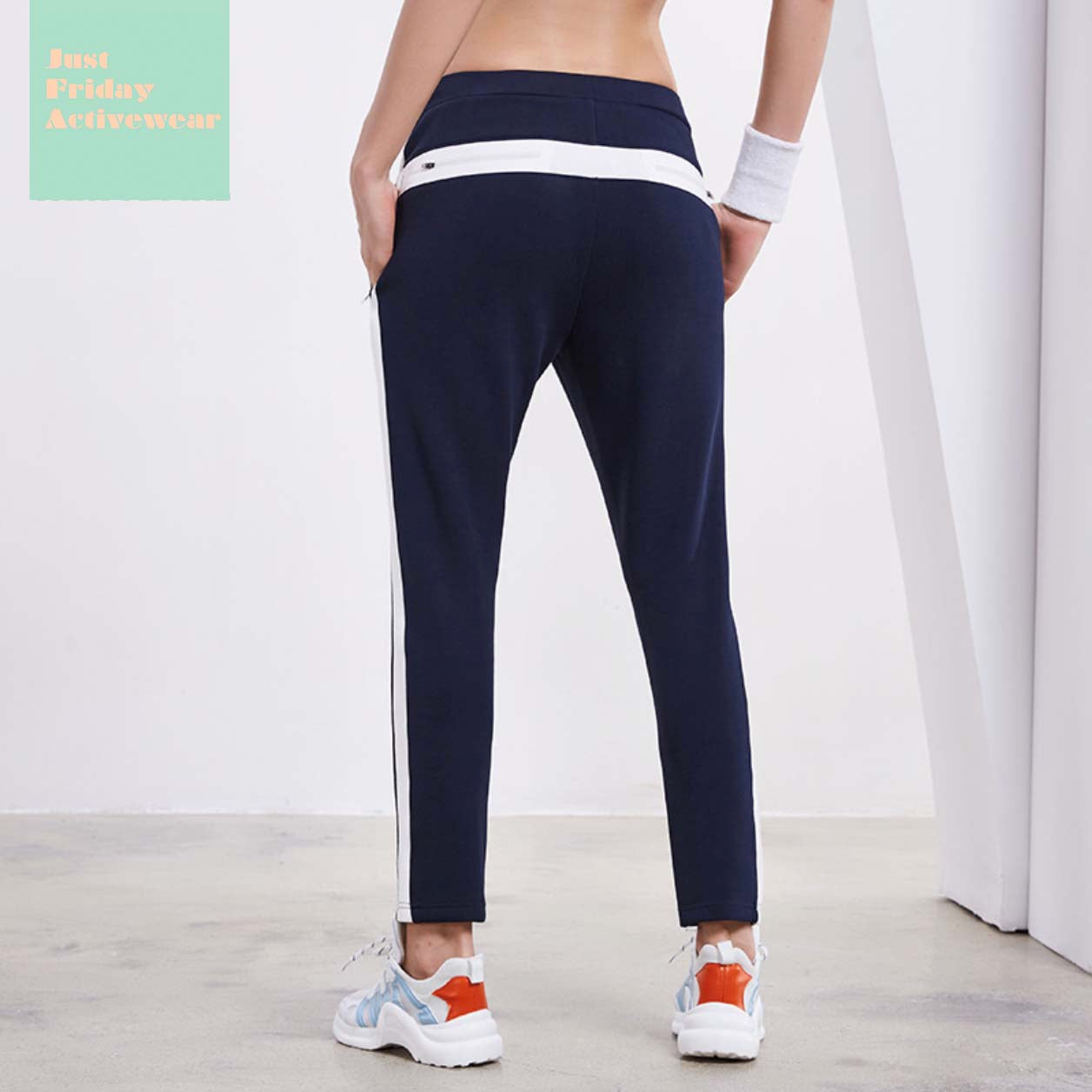 Sexy Two Tone Navy Zip Detailing Gym Wear Work Out Sports Wear Legging Yoga Pants