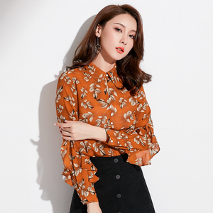 Sexy Crew Neckline Long Sleeves Flower Prints Blouse