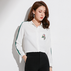 Sexy Two Tone Crew Neckline Button Up Long Sleeves Blouse