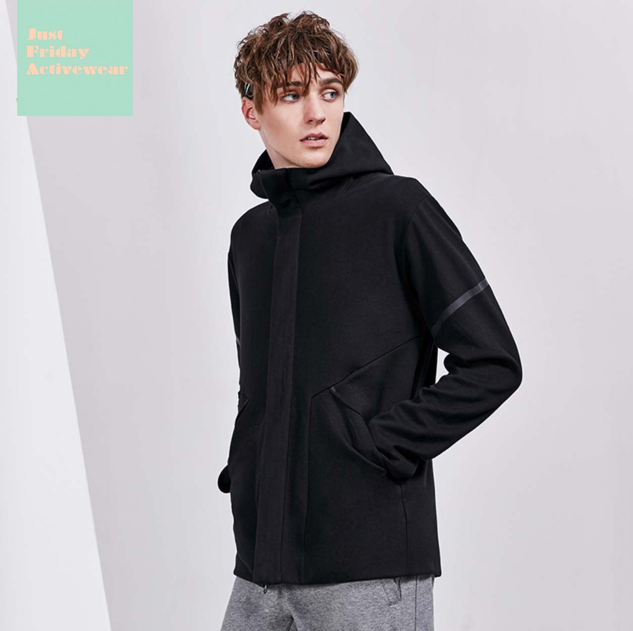 Causal Black Front Zip Up Closure Long Sleeves Side Pocket Hoodie