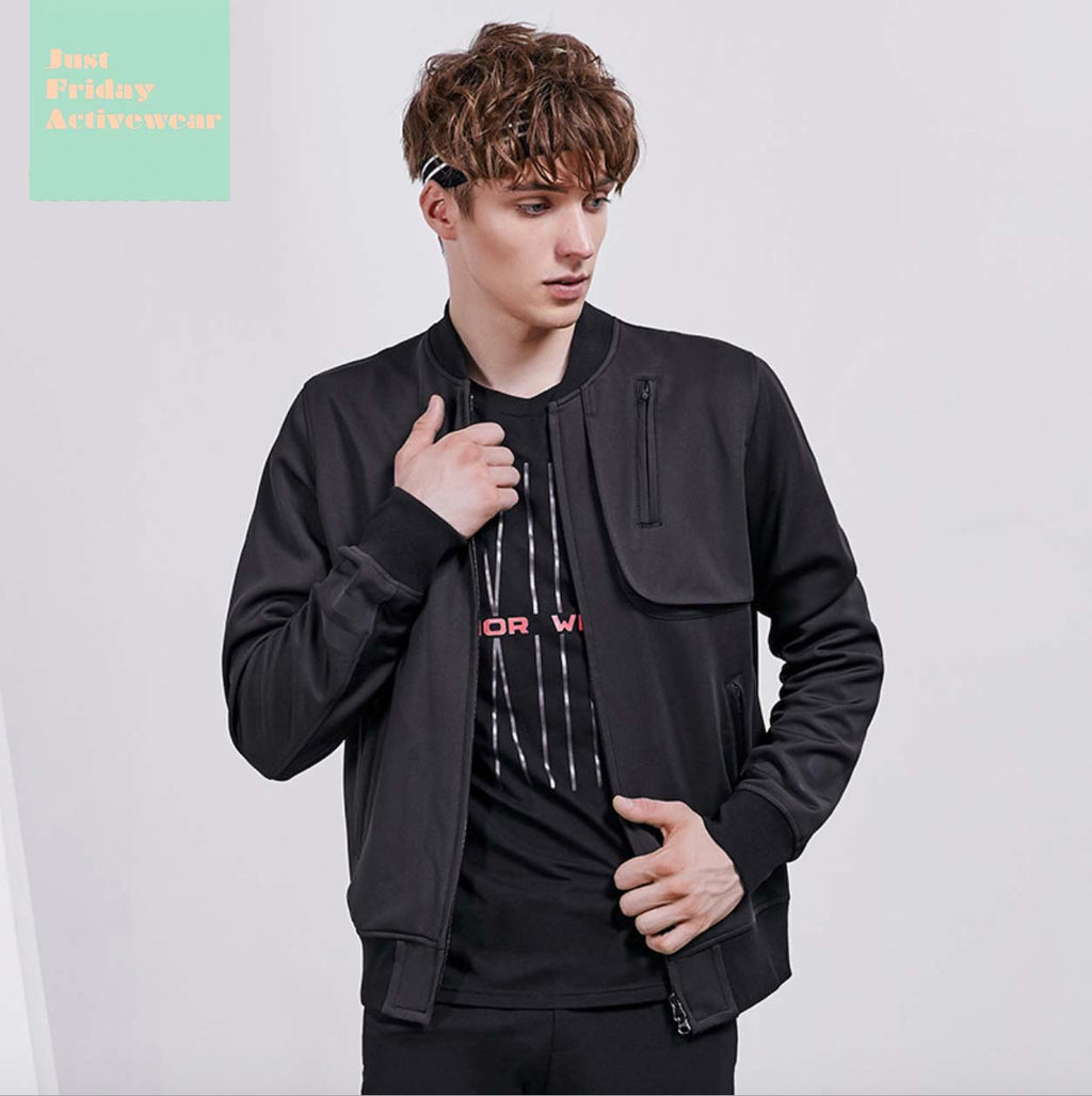 Comfy Stylish Black Stand Collar Long Sleeves Side Pockets Jacket