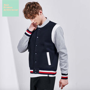 Comfy Stylish Two Tone Long Sleeves Baseball Jacket