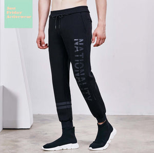 Comfy Black Mid Rise Character Prints Gym Work Out Mens' Pants