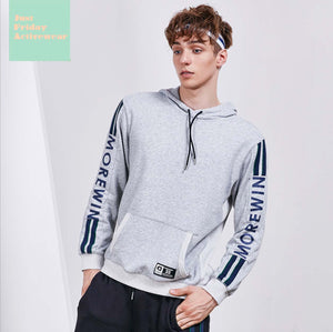 Causal Grey Front Pocket Long Sleeves Character Prints Pull Over Hoodie