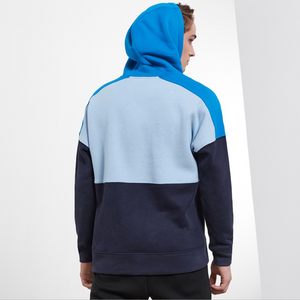 Sexy Blue Two Tone Stand Collar Long Sleeves Character Prints Hoodie