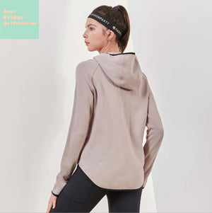 Sexy Crew Neckline Front Zip Up Closure Long Sleeves Sportswear Hoodie