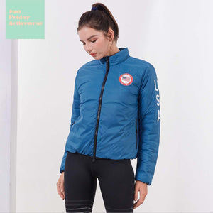 Sexy Blue Front Zip Up Closure Long Sleeve Puffy Coat