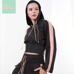 Sexy Black Long Sleeves Two Tone Crew Neckline Sportswear Hoodie