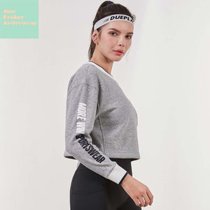 Sexy Grey Round Neckline Long Sleeves Two Tone Character Prints Sportswear