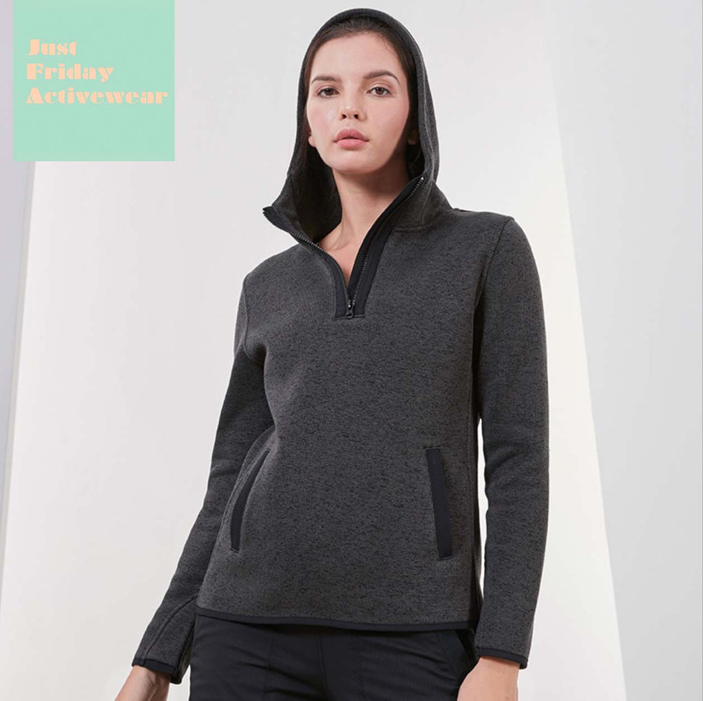 Sexy Grey Long Sleeves Zip Up Closure Crew Neckline Hoodie