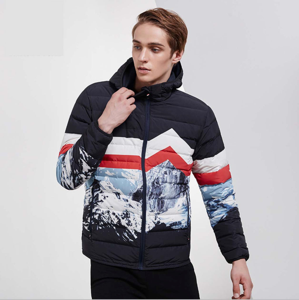 Sexy Two Tone Stand Collar Long Sleeves Sportswear Puffy Coat