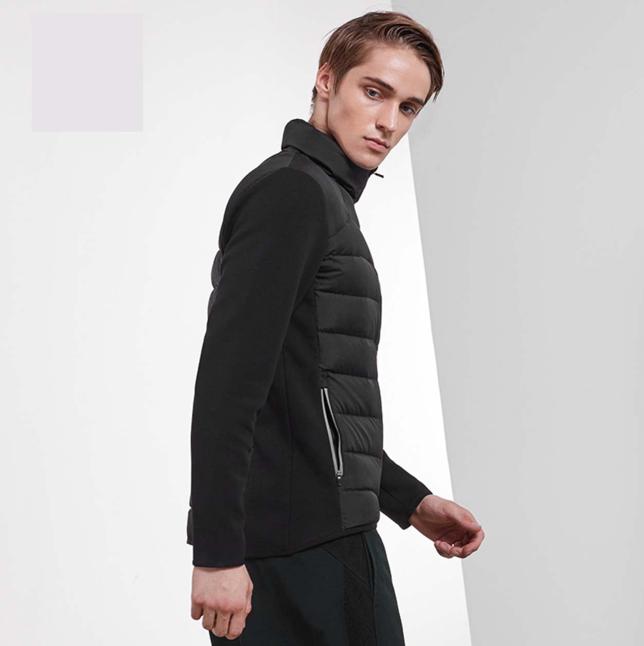 Comfy Black Stand Collar Long Sleeves Front Zip Up Closure Side Pocket Jacket