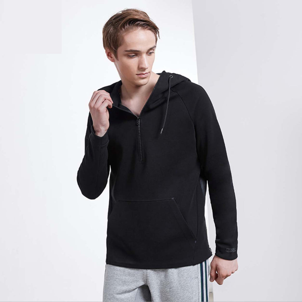 Sexy Black Stand Collar Long Sleeves Sportswear Hoodie