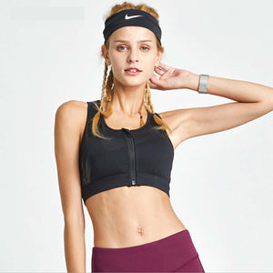 Sexy Front Zip Up Closure Strappy Detailing Sports Bra