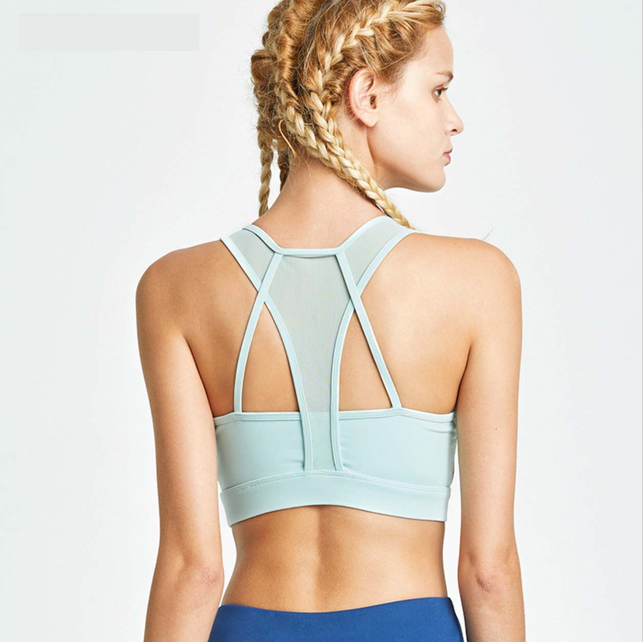 Sexy Strappy Detailing Two Tone Sports Bra