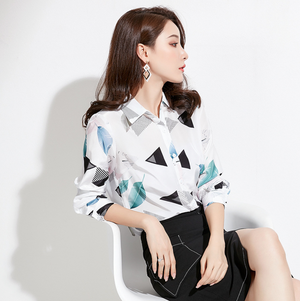 Sexy Crew Neckline Long Sleeves Two Tone Prints Blouse