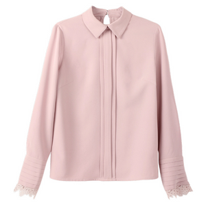 Sexy Pink Crew Neckline Long Sleeves Button Up Closure Blouse