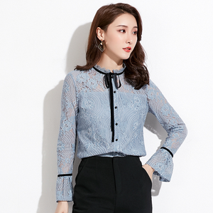 Sexy Blue Long Sleeves Crew Neckline Button Up Detailing Lace Up Blouse
