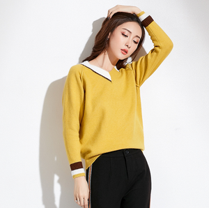 Sexy Long Sleeves Two Tone V Neckline Sweater