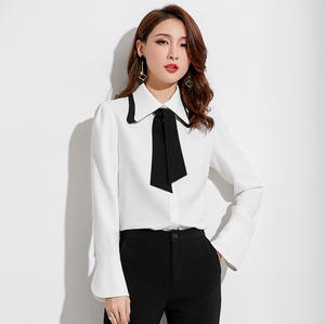 Sexy White Long Sleeves Crew Neckline Button Up Blouse