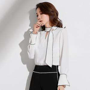 Sexy White Long Sleeves Two Tone Crew Neckline Blouse