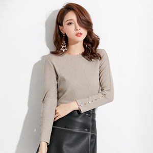 Sexy Grey Crew Neckline Long Sleeves Button Detailing Blouse