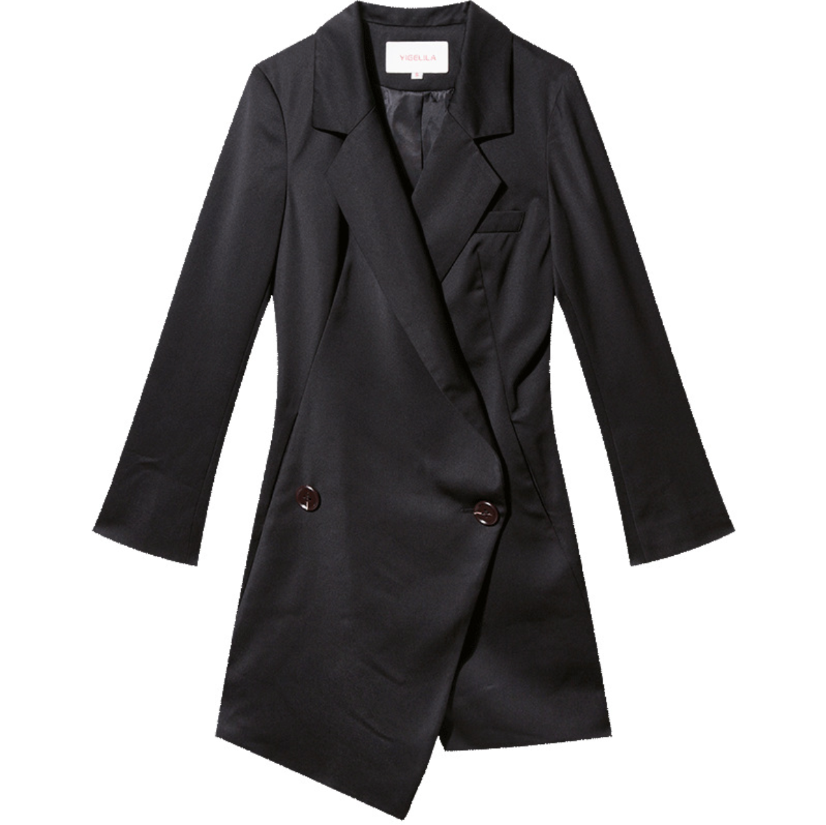 Sexy Black V Neckline Long Sleeves Button Up Detailing Coat