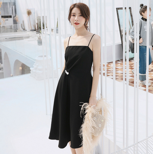 Sexy Black Round Neckline Sleeveless Asymmetrical Hem Dress