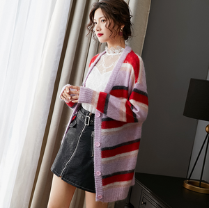 Sexy V Neckline Long Sleeves Button Up Closure Strip Design Sweater