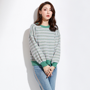 Sexy Two Tone Round Neckline Long Sleeves Sweater