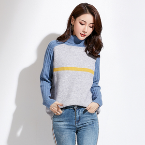 Sexy Turtle Neckline Long Sleeves Stripes Prints Sweater